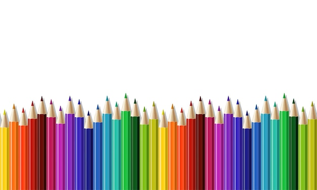 Seamless row of colored pencil
