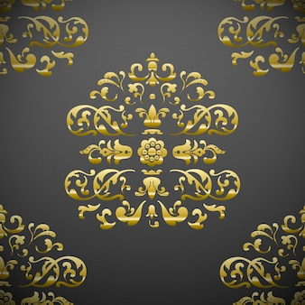 Seamless royal floral pattern: gold on gray