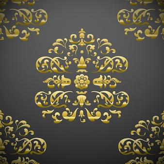シームレスなロイヤルフローラルパターン:グレーにゴールド