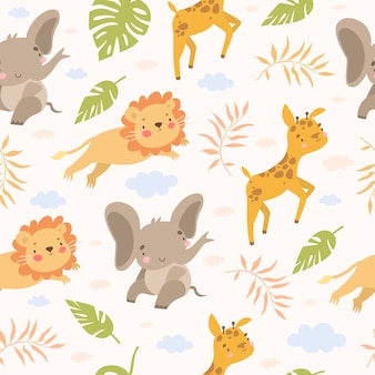 Seamless safari pattern with animals