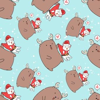 クリスマスの日のパターンでシームレスなサンタ猫とトナカイ