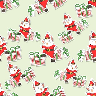 Seamless santa cat and gifts pattern