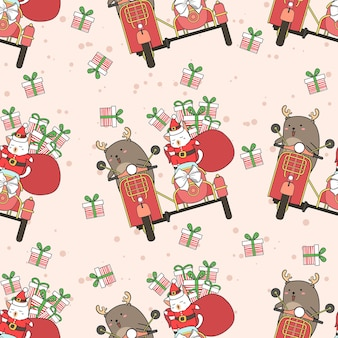 Seamless santa cat and reindeer with motorcycle in christmas day pattern