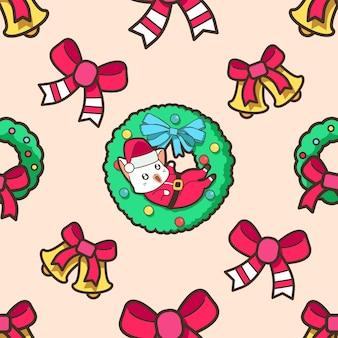 クリスマスパターンのシームレスなサンタクロースの猫と花輪