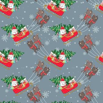 Seamless santa claus cat in sleigh pattern