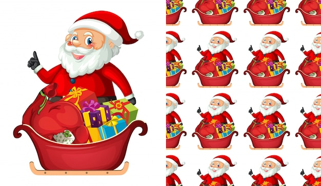 Seamless santa claus with gifts