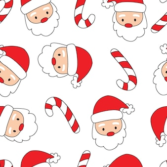 Seamless santa head and candy cane with red and white colored
