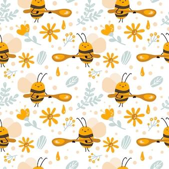 Бесшовный скандинавский детский образец милой пчелы с медовой ложкой, цветок в плоском векторном детском стиле