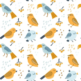 다채로운 새와 원활한 스칸디나비아 보육 패턴