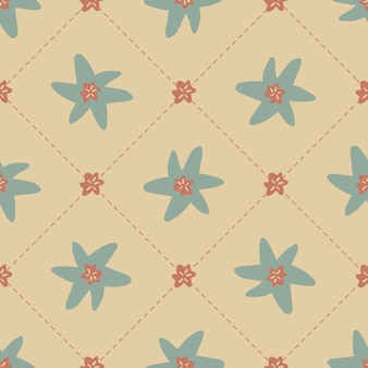 Seamless scandinavian style pattern   with cute hand draw flower