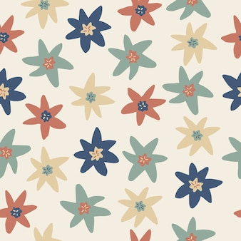 Seamless scandinavian style pattern   with doodle hand draw multicolour flower