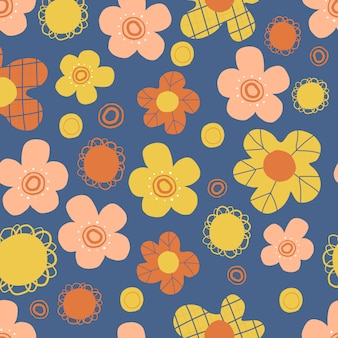 Seamless scandinavian style pattern   with hand draw doodle flower