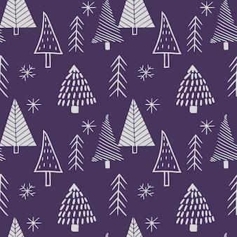 手描きの様式化されたクリスマスツリーからのシームレスなスカンジナビアスタイルのパターン