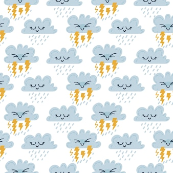 원활한 스칸디나비아 날씨 패턴입니다. 아이 들을 위한 벡터 일러스트 레이 션. 직물, 포장지, 인사말 카드 또는 포스터를 위한 창의적인 스칸디나비아 배경. 12개 중 하나