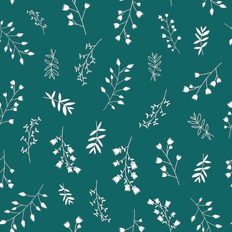 Seamless scandinavian white leaf and flowers pattern