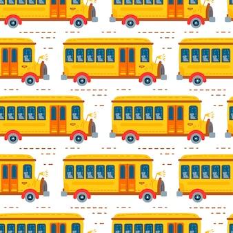Seamless school bus transport background for baby boy. cute children design