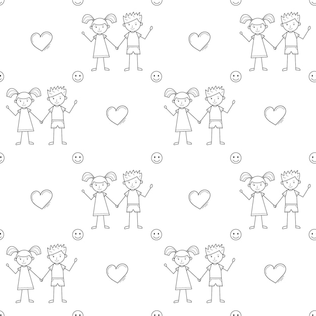 A seamless school pattern with cute kids drawn in childish style, heart and smiley face. black white