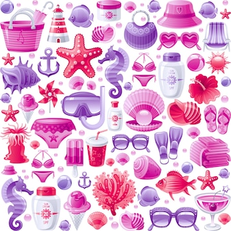 Seamless sea beach holiday pattern. cute cartoon wallpaper background with ocean rest icons - starfish, scuba mask, coral reef, beach bag, ice cream, sea horse.