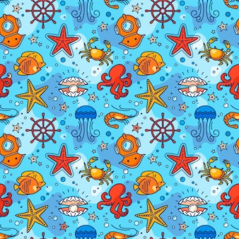 Seamless sea pattern with steering wheel, crab, pearl, starfish, shrimp, aqualung, jellyfish, and fish.