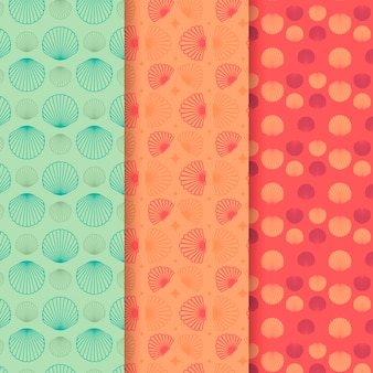 Seamless seashell patern collection