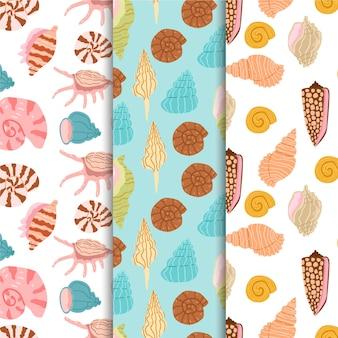シームレスな貝殻パターンコレクションデザイン