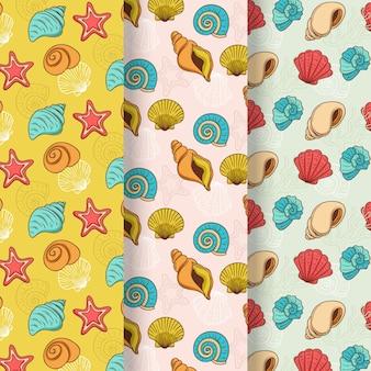 Seamless seashell pattern collection