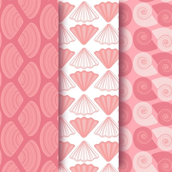 Seamless seashell pattern collection