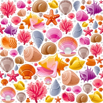Seamless seashell pattern. sea shells illustration.