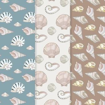 シームレスな貝殻パターンセット