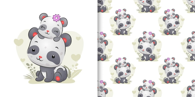 The seamless set of little panda sleeping on her mother's head with the cute position of illustration
