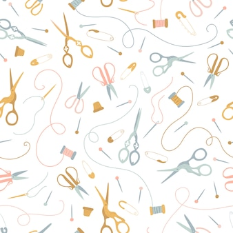 パステルカラーのシームレスな縫製パターン。ヴィンテージお針子ツール。