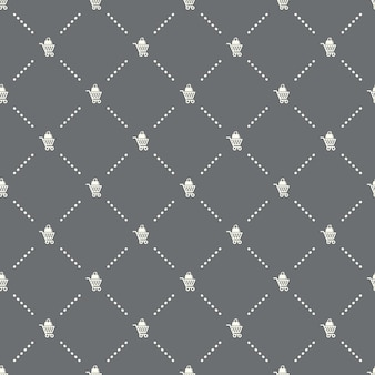Seamless shopping cart pattern on a dark background. shopping cart icon creative design. can be used for wallpaper, web page background, textile, print ui/ux