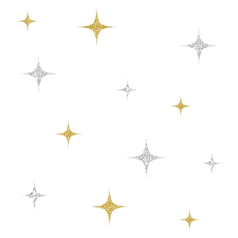 Seamless silver and pink glitter star pattern background
