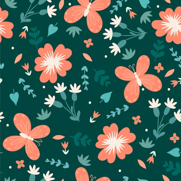 Seamless simple floral pattern with flowers and butterflies