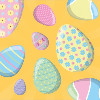 Seamless simple pattern with red easter egg on yellow