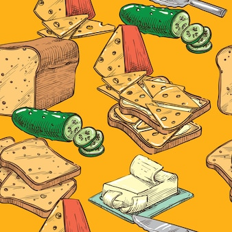 Seamless sketch toast with cheese and cucumber