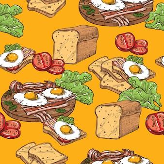 Бесшовные эскиз тост с яйцом и беконом