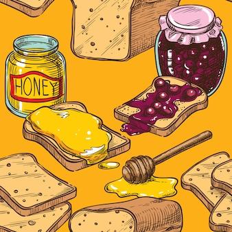 Бесшовный эскиз тост с медом и вишневым вареньем