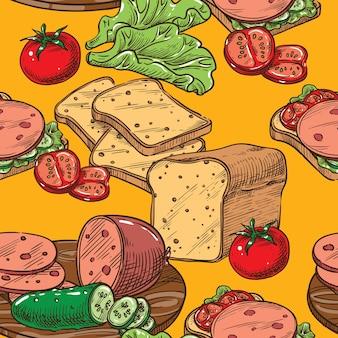 Бесшовный эскиз тост с салатом из колбасы и помидорами
