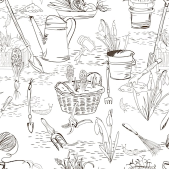 Seamless sketch with gardening tools