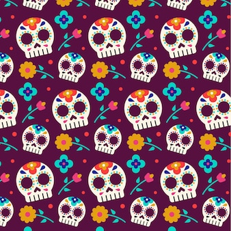 Seamless skulls day of the dead pattern template