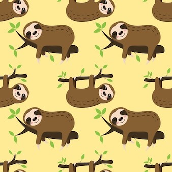Seamless sleeping sloth on tree branch vector pattern