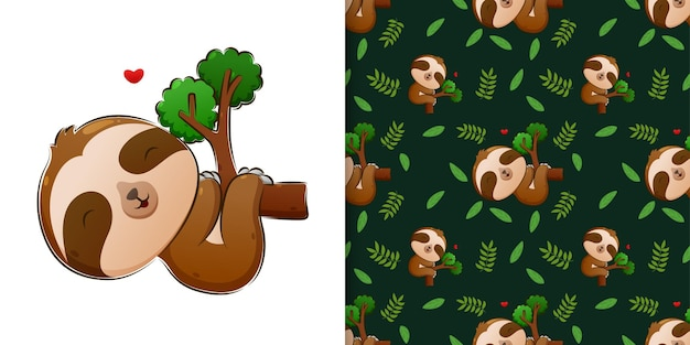 The seamless of the sloth sleeping and hanging on the branch of the tree of illustration