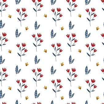 シームレスな小さな花の植物パターン。