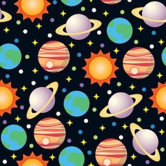 シームレスなスペースと惑星のベクトルパターンの背景
