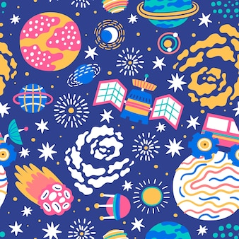 Seamless space pattern great for fabric textile wrapping paper