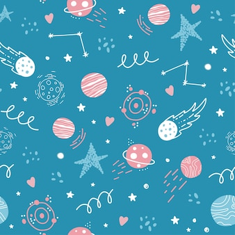Seamless space pattern. rockets, stars, planets, the solar system, constellations, cosmic elements.