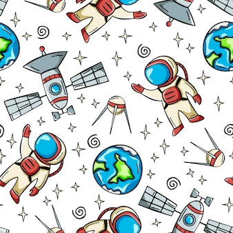 Seamless space pattern with astronaut satellite and planets in doodle style