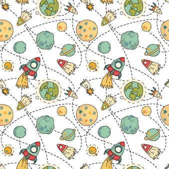 Seamless space pattern with rockets, comet and planets. childish  hand drawn   illustration.