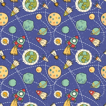Seamless space pattern with space, rockets, comet and planets. childish background. hand drawn vector illustration.